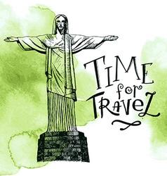 Rio De Janeiro and Christ the Redeemer Brazil vector image vector image