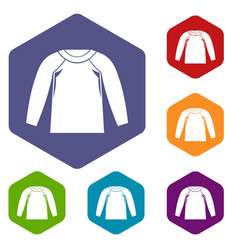 sports jacket icons set vector image