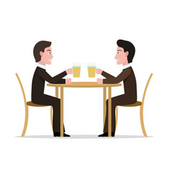 two cartoon men drinking beer vector image