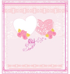 Cute valentines day card with cupids vector image vector image