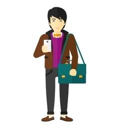 Man using smartphone vector image vector image