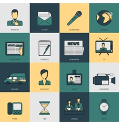 News icons flat line vector image vector image