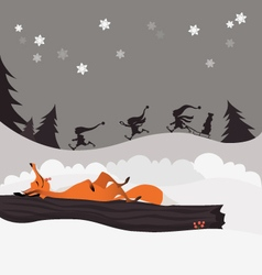 Red fox in the winter christmas forest and elves vector image vector image