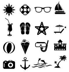 Summer holiday icons set vector image