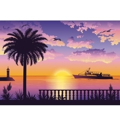 Tropical Sea Landscape with Palm and Ship vector image vector image