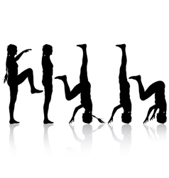 Black silhouette woman in yoga pose on white vector image