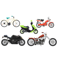 Classic color flat realistic motorcycle moped vector image