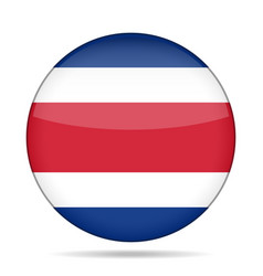 flag of costa rica shiny round button vector image