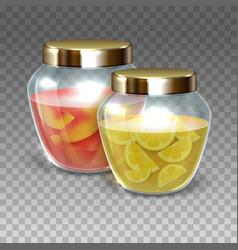 glass jars of jam vector image