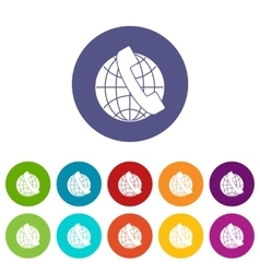Handset and globe set icons vector image