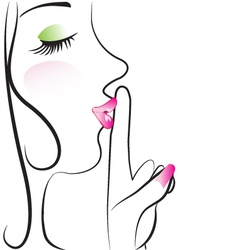 Lady making silence sign vector image vector image