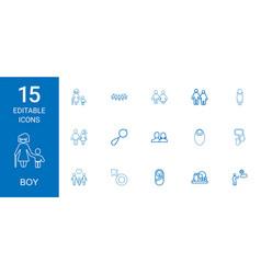 15 boy icons vector