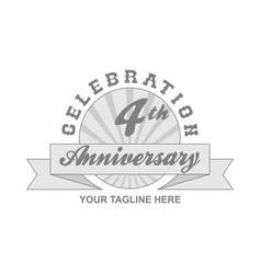 4 th anniversary grey shine background vector