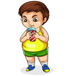 A fat Asian drinking softdrink vector image