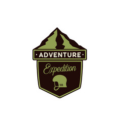 adventure logo - expedition badge with mountains vector image
