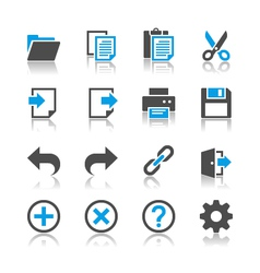 Application toolbar icons reflection vector image