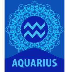 Aquarius Water Bearer Zodiac icon with mandala vector