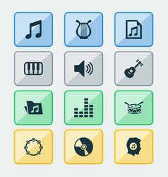 Audio icons set collection of timbrel file vector