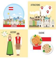 Austria background set with austrian sights vector