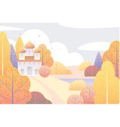 Autumn scene with church and yellow trees vector