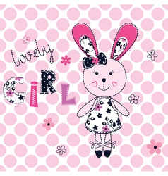 Background with cute rabbit vector