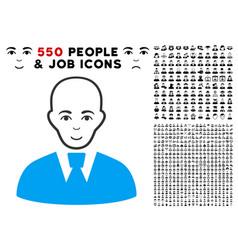 bald clerk icon with bonus vector image