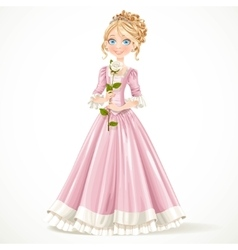 Beautiful young princess in a pink dress holding a vector
