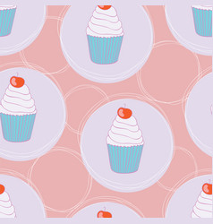 beautiful yummy cupcake seamless background vector image