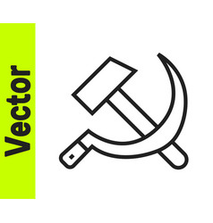 black line hammer and sickle ussr icon isolated on vector image