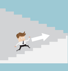 Businessman running up ladder vector
