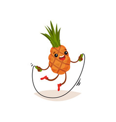 cartoon pineapple exercising with jumping rope vector image
