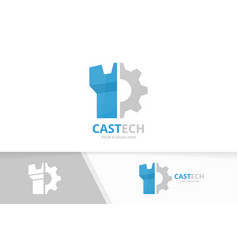 Castle and gear logo combination tower and vector