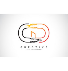 Cd creative modern logo design with orange and vector