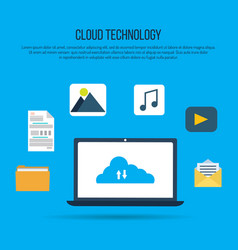 cloud computing technology with laptop vector image