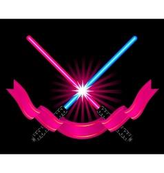 Crossed light sabers vector