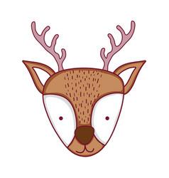 cute christmas reindeer head character vector image