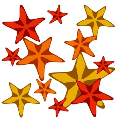 Decorative card with cartoon starfishes vector image