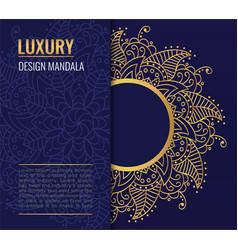 Design card with golden mandala on dark vector