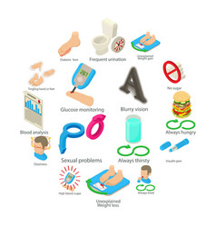 diabetes disease icons set isometric style vector image