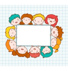 Doodle kids blank frame vector