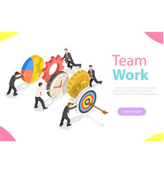 Effective teamwork flat isometric concept vector