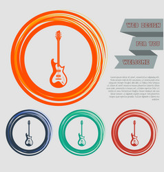 electric guitar icon on the red blue green orange vector image