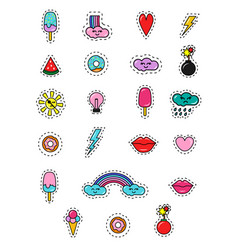 fashion 80s and 90s patches badges and stickers vector image