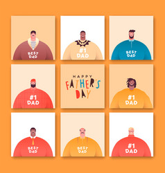 fathers day card set diverse dad people character vector image