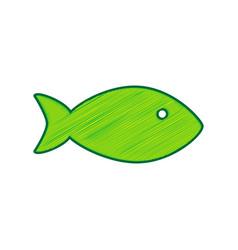 fish sign lemon scribble vector image