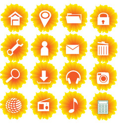 Flame yellow flower icon set vector