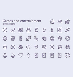 Games and entertainment outline iconset vector