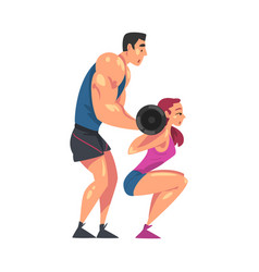 Girl exercising with barbell personal male vector