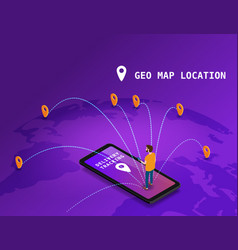 Global tracking system delivery service online vector