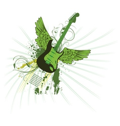 grunge vintage emblem with guitar vector image
